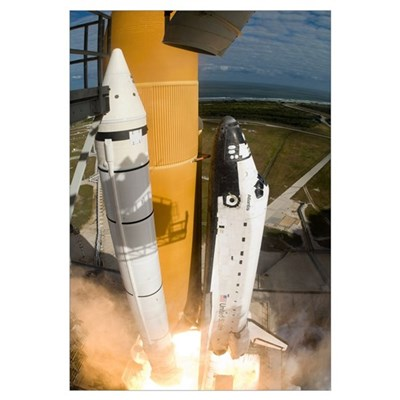 Space Shuttle Atlantis lifts off from its launch p Canvas Art