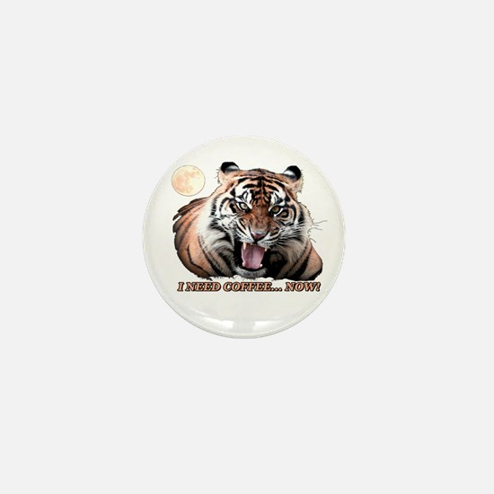 Tiger needs caffeine Mini Button