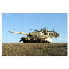 US Marines provide security in an M1A1 Abrams tank Poster