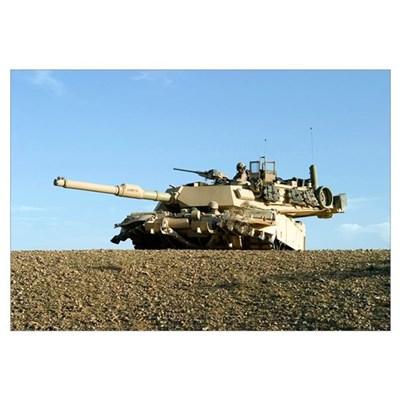 US Marines provide security in an M1A1 Abrams tank Canvas Art
