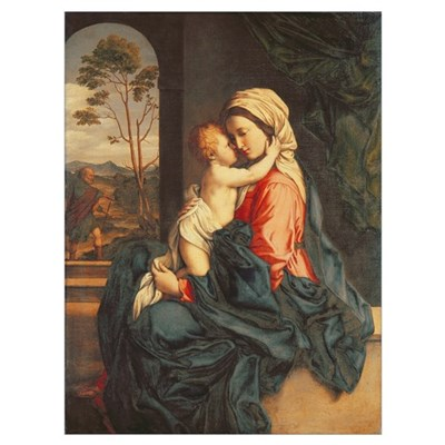 The Virgin and Child Embracing (oil on canvas) Framed Print