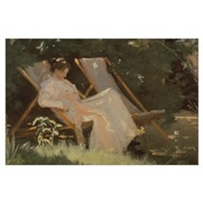 The artist's wife sitting in a garden chair at Ska Poster