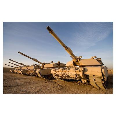M1 Abrams tanks at Camp Warhorse Poster