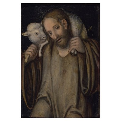 The Good Shepherd (oil on panel) Canvas Art