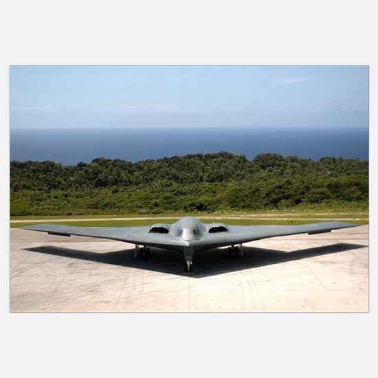 A B2 Spirit stealth bomber waits on the flightline