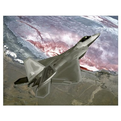 An F/A22 Raptor flies a training mission Poster