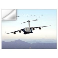 A formation of 17 C17 Globemaster IIIs fly over th Wall Decal
