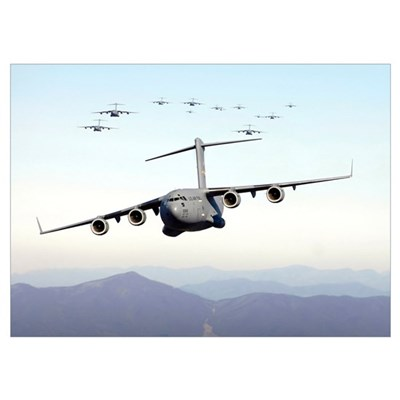 A formation of 17 C17 Globemaster IIIs fly over th Poster