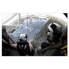 US Navy Search and Rescue crewmembers look on from Wall Decal
