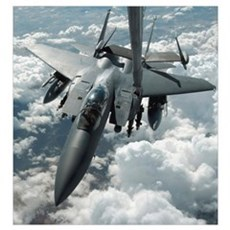 An F15 E Strike Eagle receives fuel from a KC10 Ex Framed Print