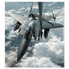 An F15 E Strike Eagle receives fuel from a KC10 Ex Poster