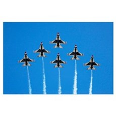 The US Air Force Thunderbirds perform a 6ship form Poster
