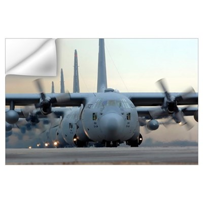 C130 Hercules aircraft taxi out for a mission duri Wall Decal