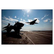 An F14D Tomcat prepares to make an arrested landin