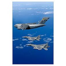F15B Eagles escort the first Hawaiibased C17 Globe Poster