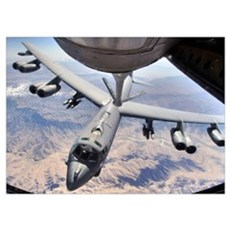 A B52 Stratofortress receives fuel from a KC135 St Poster
