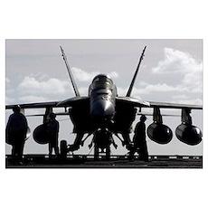 An F/A18E Super Hornet on the flight deck aboard U Poster