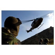The arrival of an Italian UH60 helicopter Poster