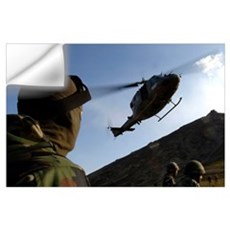 The arrival of an Italian UH60 helicopter Wall Decal