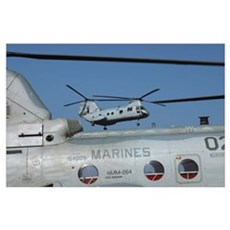 US Marine Corps CH46 Sea Knight helicopters Poster