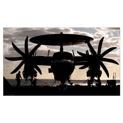 S Navy Sailors secure an E2C Hawkeye aircraft to t Canvas Art