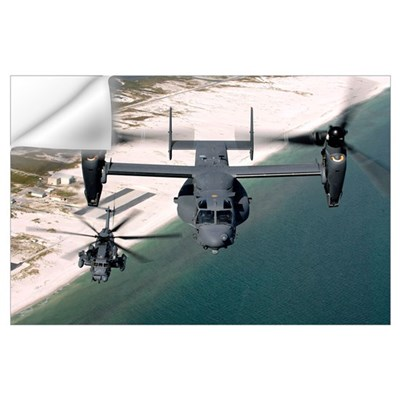 A CV22 Osprey and an MH53 Pave Low fly over the co Wall Decal