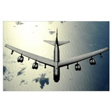 A B52 Stratofortress in flight over the Pacific Oc Poster