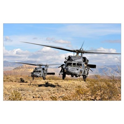 Two HH60 Pavehawk helicopters preparing to land Poster