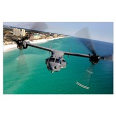 A CV22 Osprey aircraft flies over Floridas Emerald Poster