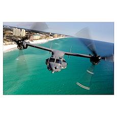 A CV22 Osprey aircraft flies over Floridas Emerald Poster