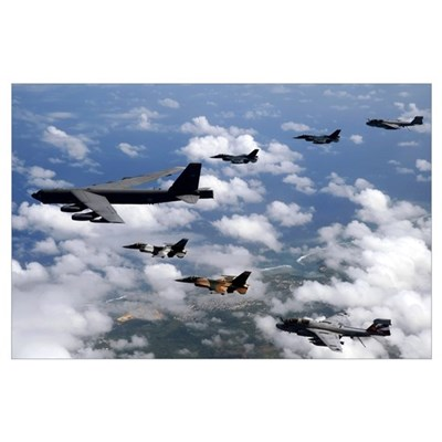 A B52 Stratofortress leads a formation of aircraft Poster