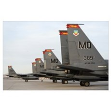 US Air Force F15E Strike Eagles taxi in after arri Poster