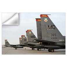 US Air Force F15E Strike Eagles taxi in after arri Wall Decal