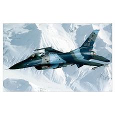 An F16 Aggressor disconnectsfrom a KC10 Extender a Poster