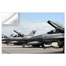 F16 Fighting Falcons await to launch for a trainin Wall Decal