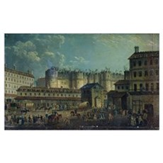 Demolition of the Bastille in 1789 (oil on canvas) Poster