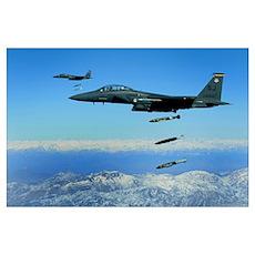 US Air Force F15E Strike Eagle aircraft drops 2000 Poster