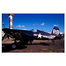 A side view of a US Marine Corps F4U Corsair World Poster