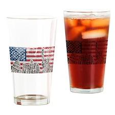 Vintage America Flag Drinking Glass