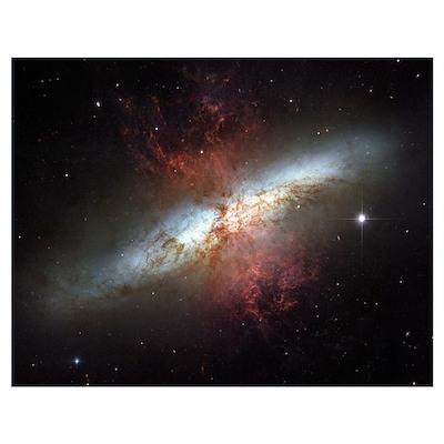 Starburst galaxy Messier 82 Poster