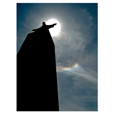 A silhouette of the Catholic monument of Jesus Chr Framed Print