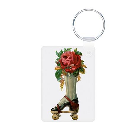 Roller Skate Rose Aluminum Photo Keychain