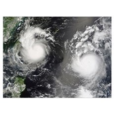 Typhoon Saomai and Tropical Storm Bopha Canvas Art