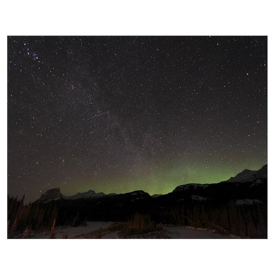 Quadrantid Meteor Shower Milky Way and Aurora Poster