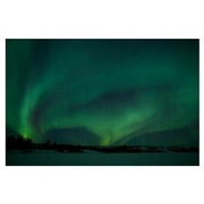 Active Aurora over Vee Lake Yellowknife Northwest  Poster