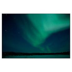 Green Aurora above Far Lake Yellowknife Northwest Poster