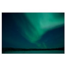 Green Aurora above Far Lake Yellowknife Northwest  Poster