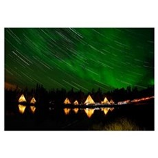 Aurora and star trails Framed Print