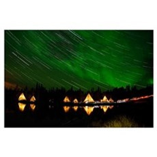 Aurora and star trails Poster