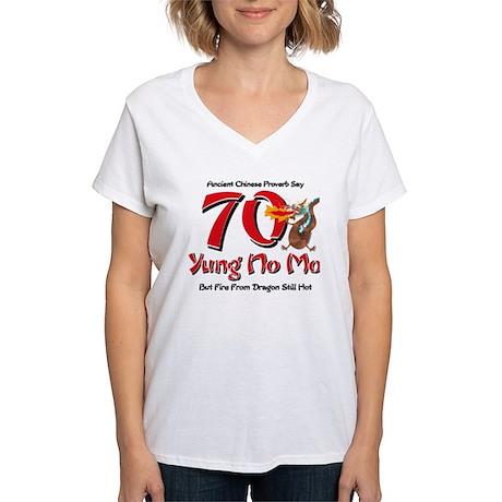 Yung No Mo 70th Birthday Women's V-Neck T-Shirt